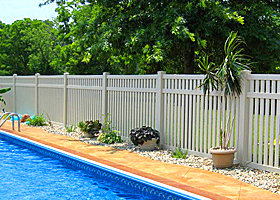 White Swimming Pool Fence