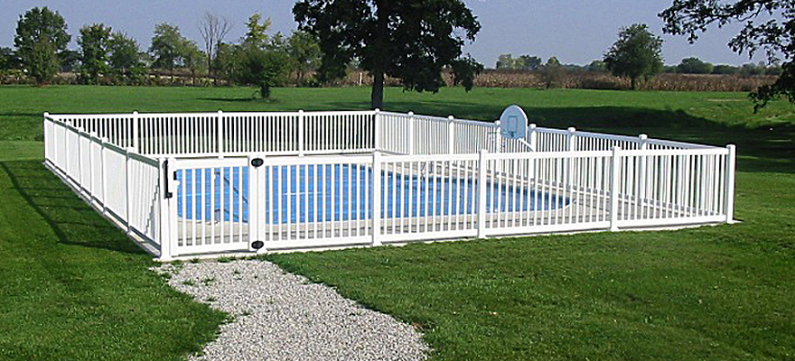 Vinyl pool fence vinyl semi privacy fencing pool fence for In ground pool fence ideas