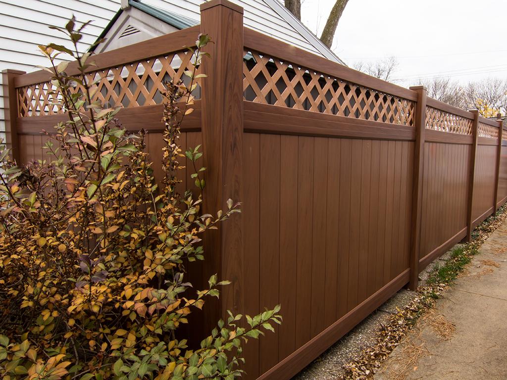 Mocha Walnut Vinyl Fence Factory Direct Vinyl Fence