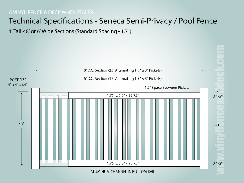 7' tall white privacy fence panel