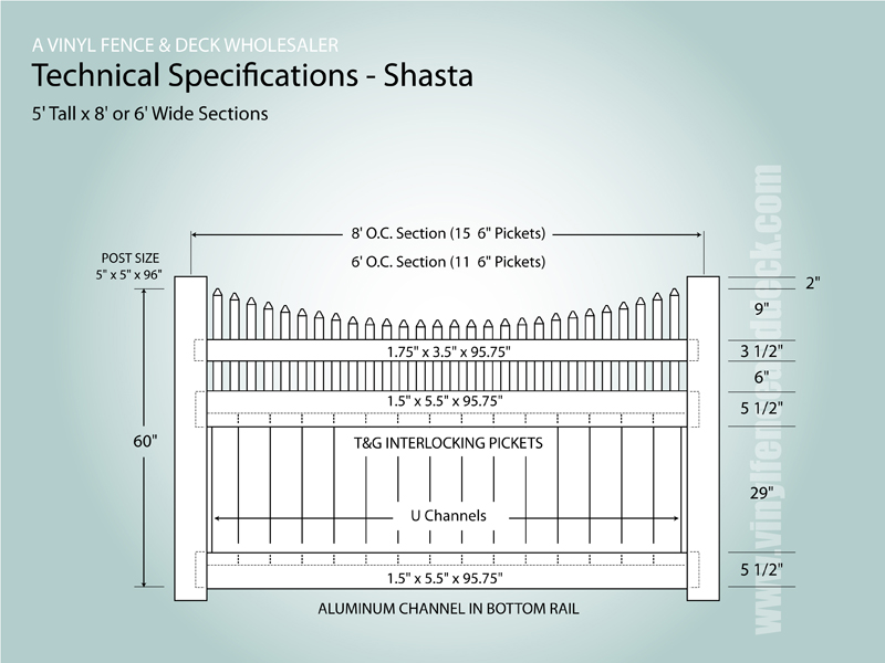 Shasta Privacy Fence Vinyl Fence Wholesaler