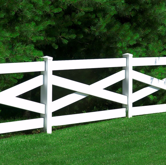 Crossbuck fence vinyl factory direct