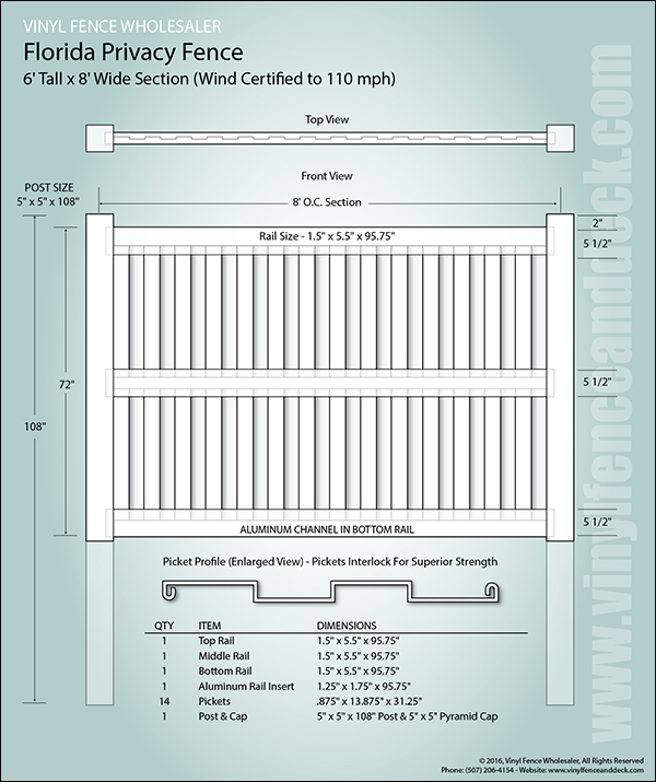 Florida Privacy Fence Fast Shipping Vinyl Fence Wholesaler