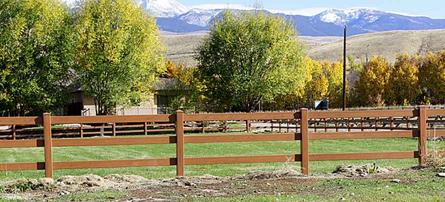 mocha walnut horse fence
