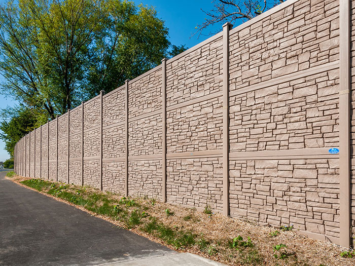 IDOT Sound Wall 12' Tall Simulated Stone Fence