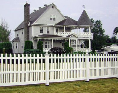 white vinyl picket fence and white PVC picket fence
