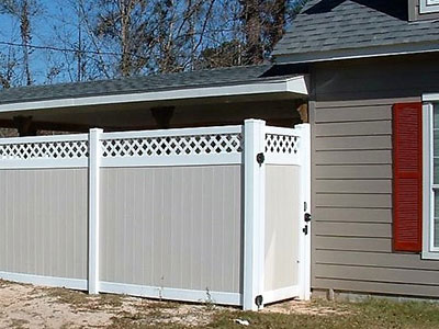 8 foot tall white privacy fence
