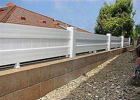 Rainier Privacy Fence white vinyl fencing