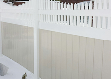 tan vinyl privacy fence