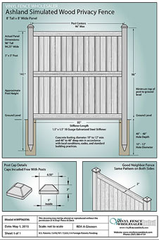 8' Tall x 8' Wide Ashland Privacy Fence Panel CAD