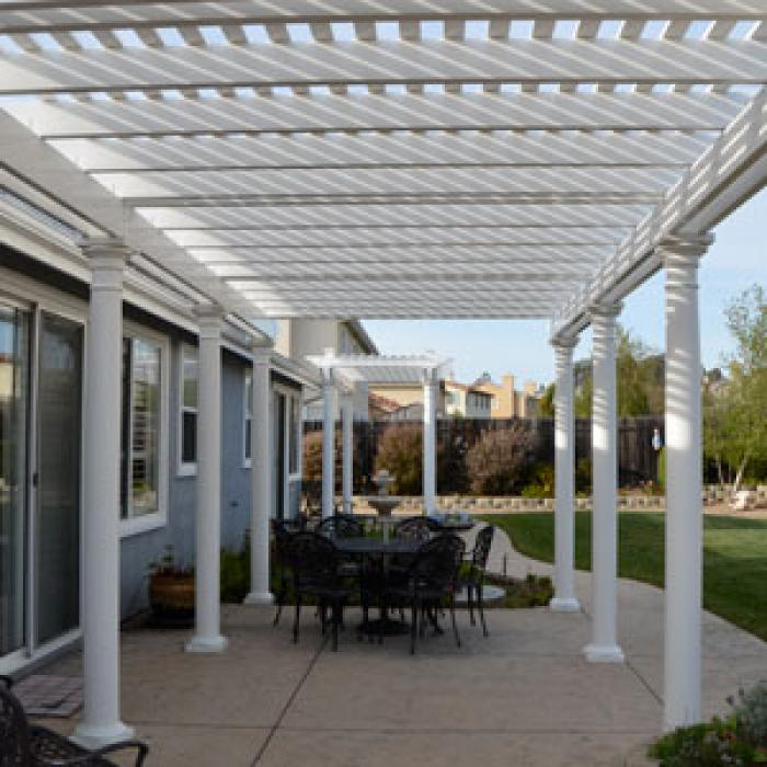 white pergolas plus patio covers