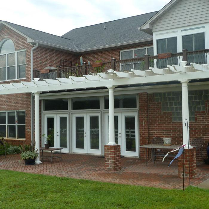 double beam pergola with round columns