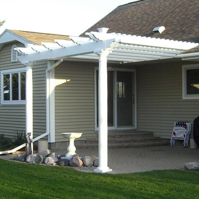 double beam pergola with tapered posts