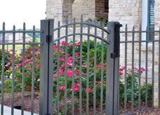 4 Foot Tall Gray Aluminum Fence with arched walk gate