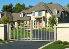Tan arched double gate