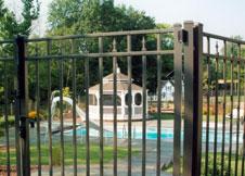 6 Foot Tall Gray Aluminum Fence
