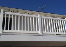 White Deck Railing and Vinyl Stair Railing