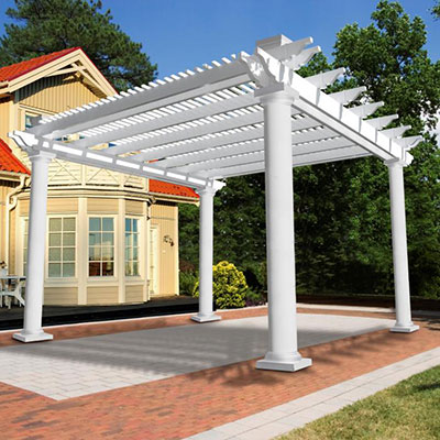Vinyl pergolas vinyl garden patio covers from vinyl for Build a freestanding patio cover