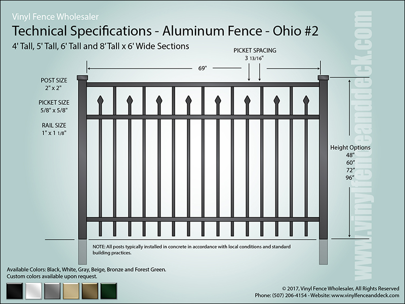 Ohio Aluminum Fence Specification Drawing 2