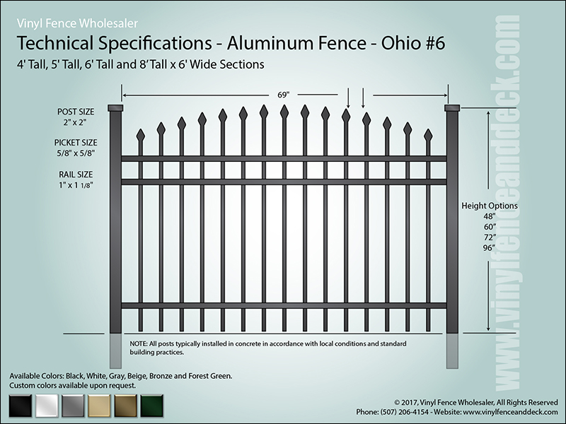 Ohio Aluminum Fence Specification CAD 6