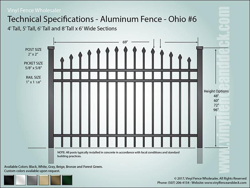 Ohio Aluminum Fence Specification CAD 6