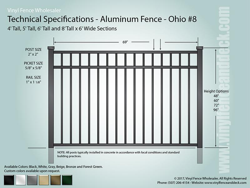 Ohio Aluminum Fence Specification CAD 8