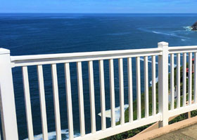 White PVC Railing and Vinyl Stair Rail