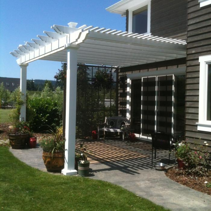 white vinyl pergola with double beams