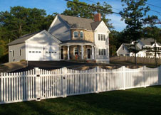 Austin white pvc picket fence