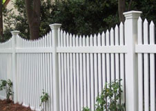 tan vinyl picket fence