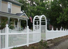 Sacramento tan vinyl picket fence panel