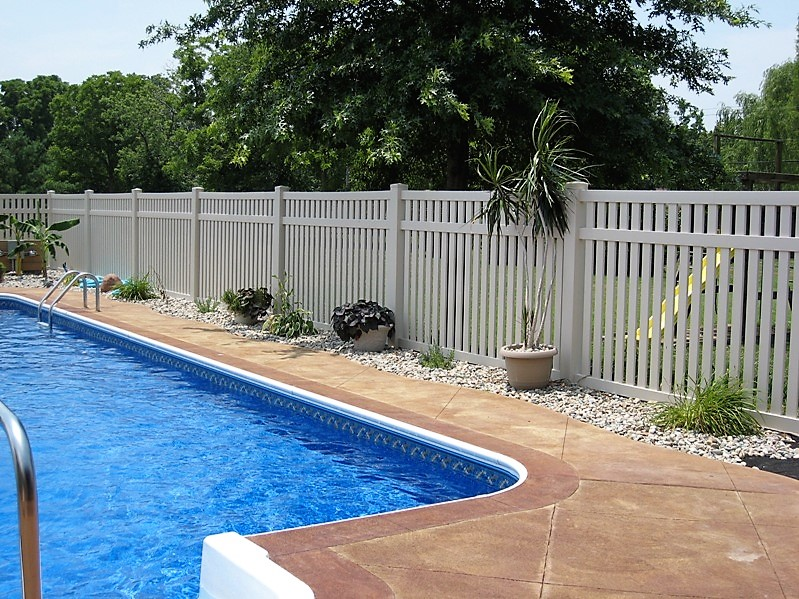 Bel air semi privacy pool fence vinyl fence wholesaler for Pool privacy screen