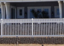 Trenton tan vinyl picket fence