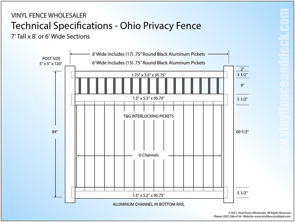 ohio 7' tall white privacy fence panel