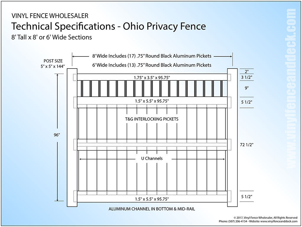 ohio 8 foot tall white privacy fence panel