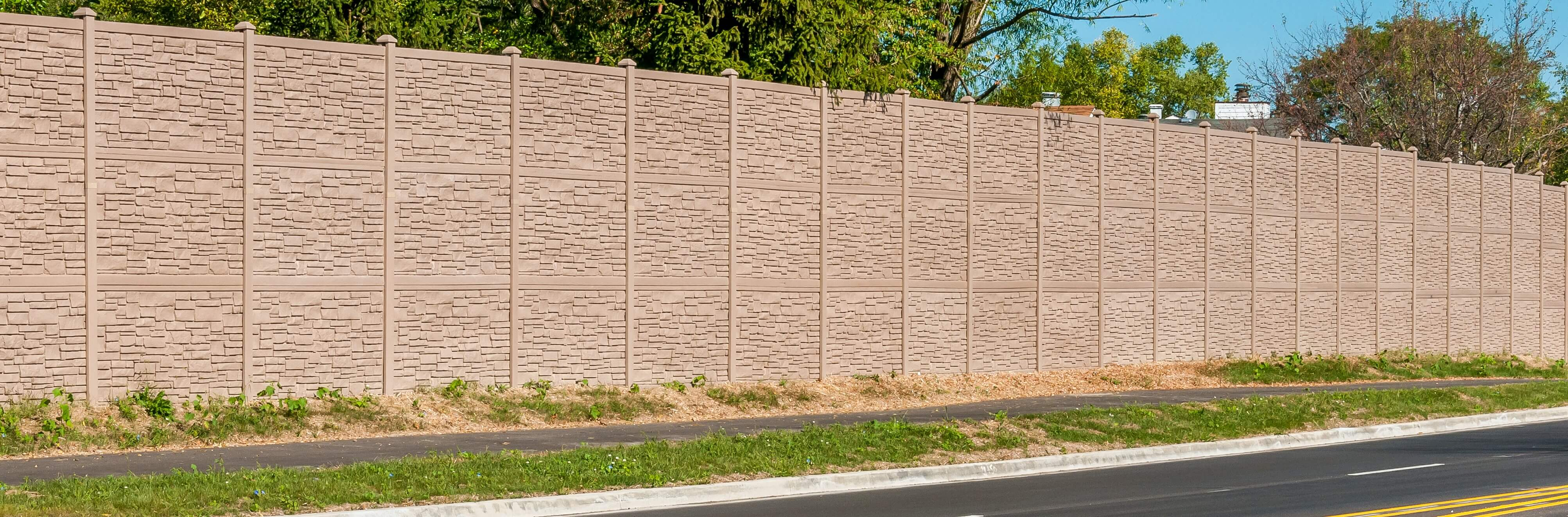 12' Tall Sound Wall - Simulated Stone