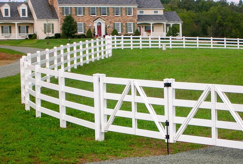 Vinyl horse fence farm post and rail
