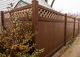 7 foot tall mocha walnut privacy fence