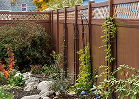 8 foot tall mocha walnut privacy fence