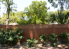6 foot tall mocha walnut privacy fence