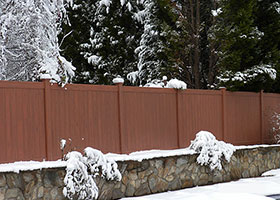 8' tall vinyl privacy fence mocha walnut