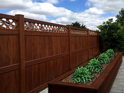 mocha walnut vinyl fence panel