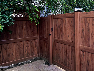 mocha walnut privacy fence