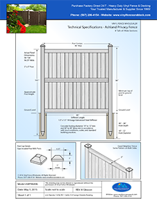 Ashland 8' Tall Privacy Fence Panel CAD