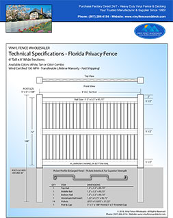 6 Foot Tall Florida privacy fence panel