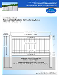 5' Tall vinyl privacy fence