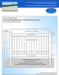 6' tall vinyl privacy fence