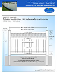 5' vinyl privacy fence panel