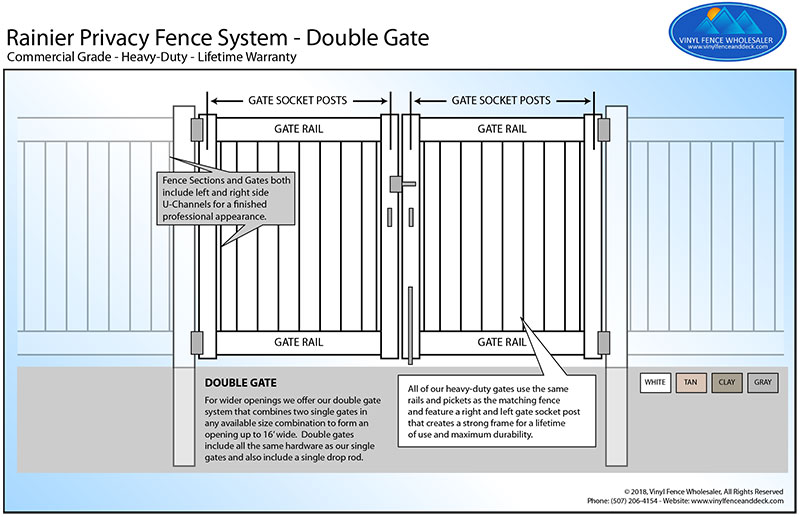 mocha walnut vinyl fence double gate
