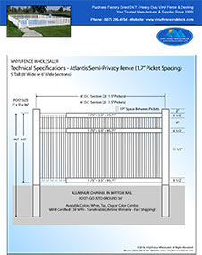 7' tall white pool fence panel